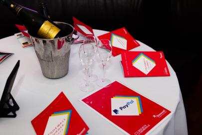 Champagne, glasses and brochures at Stonewall Summer Party 2016
