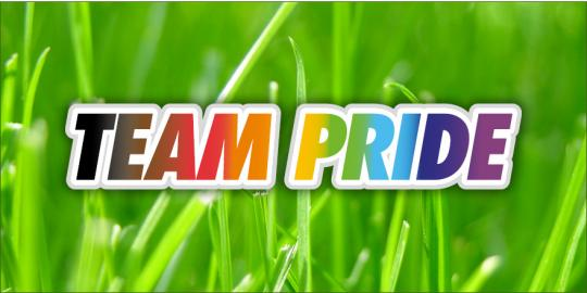 Text saying Team Pride on a grassy background