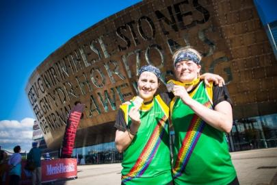 Two participants with their medals at Survival of the Fittest Cymru 2015